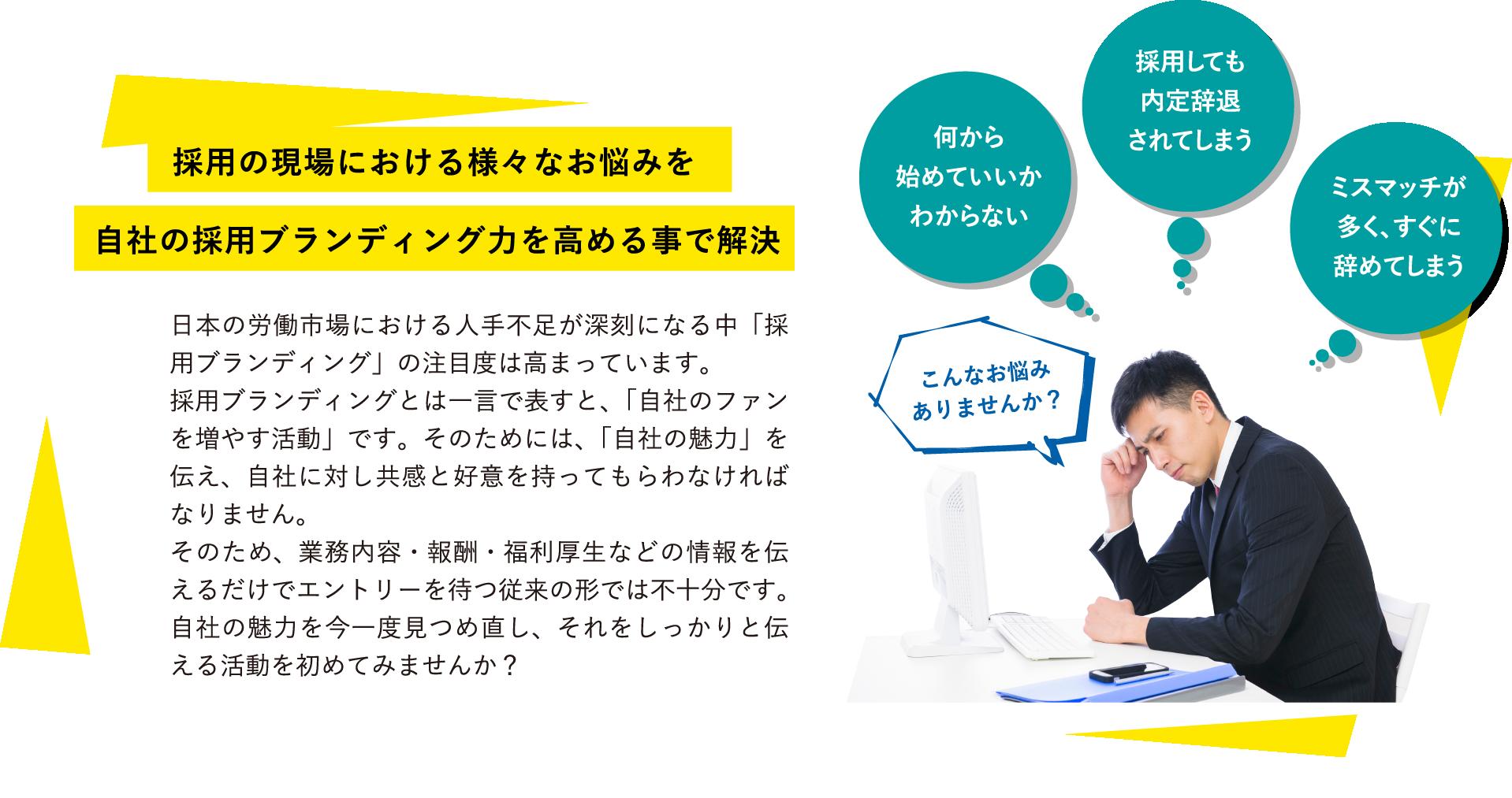 採用の現場における様々なお悩みを自社の採用ブランディング力を高める事で解決 日本の労働市場における人手不足が深刻になる中「採用ブランディング」の注目度は高まっています。採用ブランディングとは一言で表すと、「自社のファンを増やす活動」です。そのためには、「自社の魅力」を伝え、自社に対し共感と好意を持ってもらわなければなりません。そのため、業務内容・報酬・福利厚生などの情報を伝えるだけでエントリーを待つ従来の形では不十分です。自社の魅力を今一度見つめ直し、それをしっかりと伝える活動を初めてみませんか?